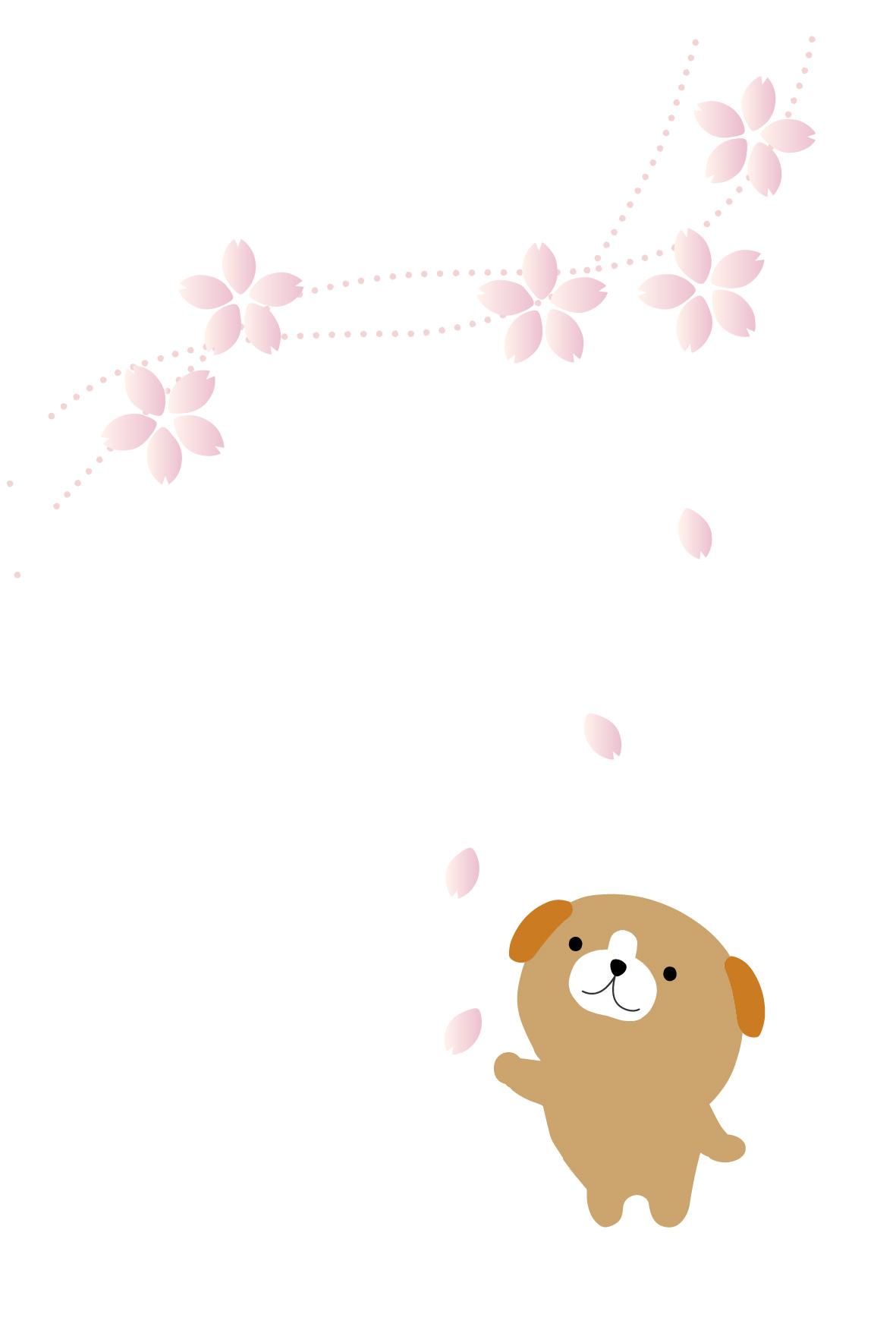 桜のイラスト・春の挨拶状/無料はがき素材
