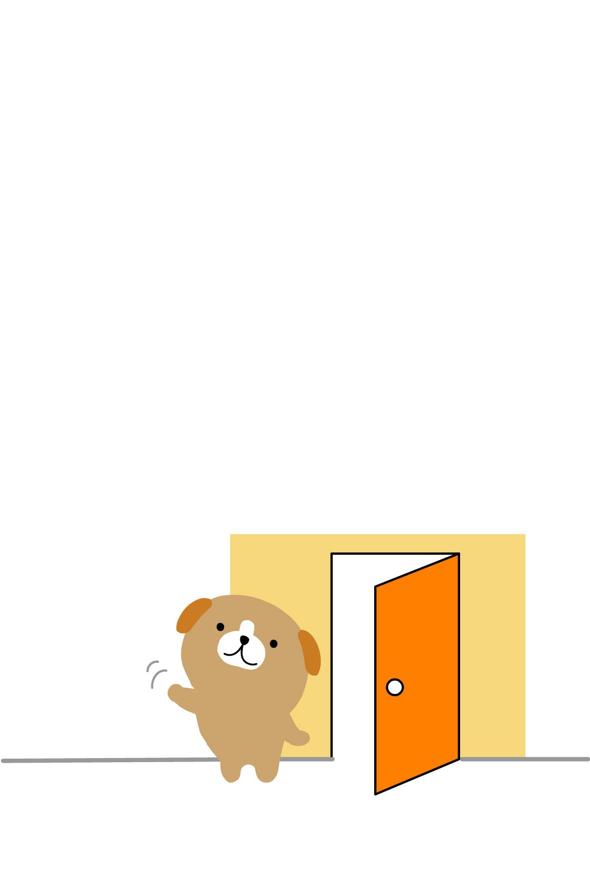 引っ越しはがき・転居報告はがき・無料素材/わんことドア