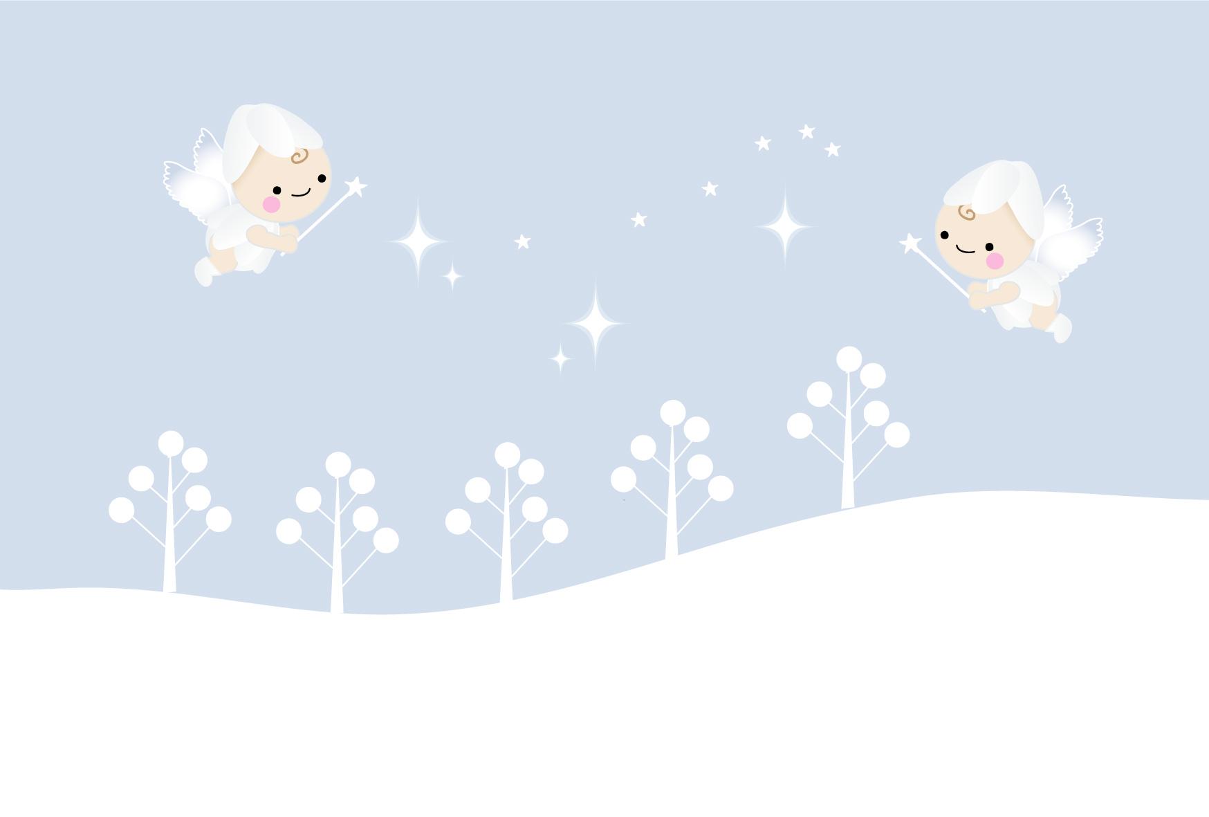 デザインはがきテンプレート無料素材・冬の妖精